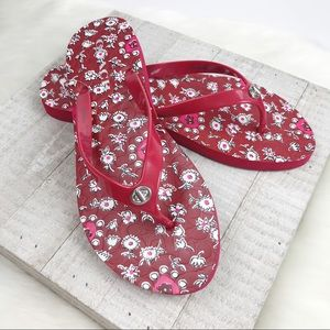 NEW COACH Red Embossed Abbigail Flip Flops